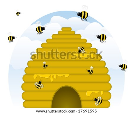 Skep-style, golden beehive dripping with honey, with busy honey bees of various sizes working. - stock vector