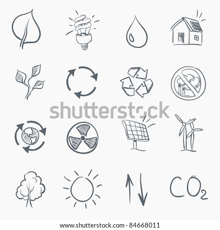 Skerch Eco Icon Set Isolated on White Background. Vector EPS8. - stock vector