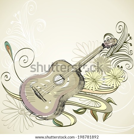 sketch acoustic guitar on a beige background - stock vector