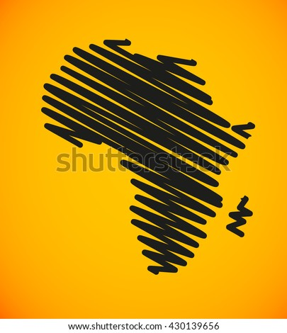 Sketch African continent Flat icon Image. Africa background Picture. Vector Silhouette - stock vector