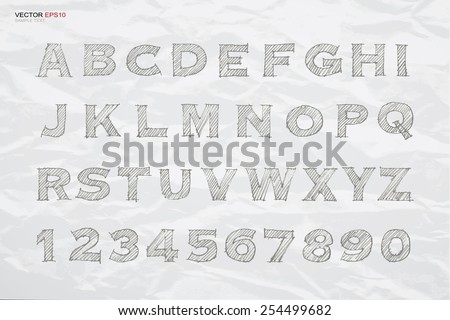 Sketch alphabet and number on crumpled paper texture background. Vector hand drawn and sketched font. - stock vector
