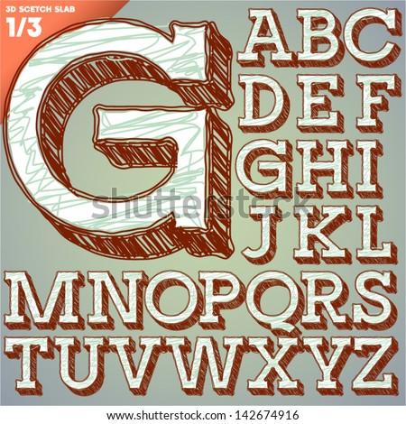 Sketch alphabet. Vector illustration of hand drawing font. Slab uppercase letters - stock vector