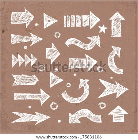 Sketch arrow collection for your design. Hand drawn on brown paper. Vector sketch illustration.  - stock vector