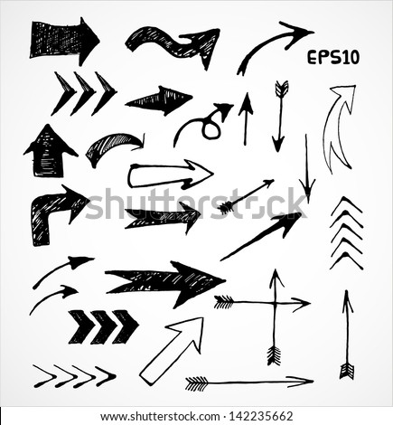 Sketch arrow collection for your design. Hand drawn with ink. Vector illustration. - stock vector