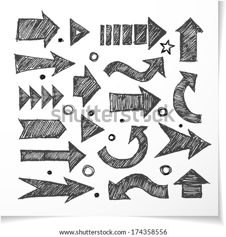 Sketch arrow collection for your design. Hand drawn with ink. Vector sketch illustration.  - stock vector