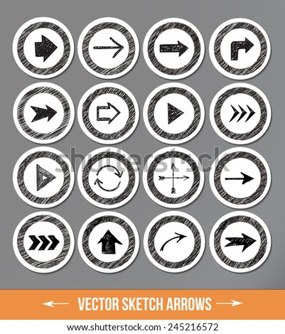 Sketch arrow collection for your design. Vector sketch illustration. Sketch arrows on paper-cut circles with realistic shadows. - stock vector