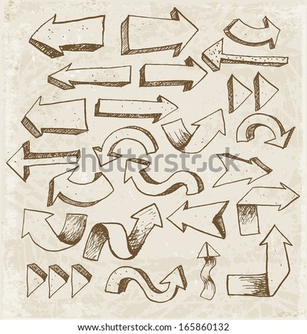 Sketch arrow collection in vintage style. Hand drawn with ink. Vector illustration. - stock vector