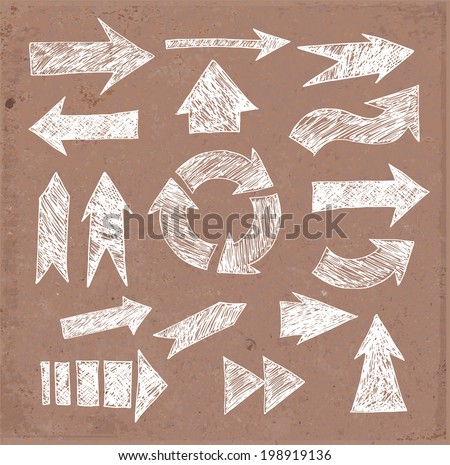 Sketch arrow collection on brown parcel paper for your design. Vector illustration.  - stock vector