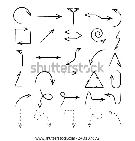 sketch arrow set, hand draw arrow vector - stock vector