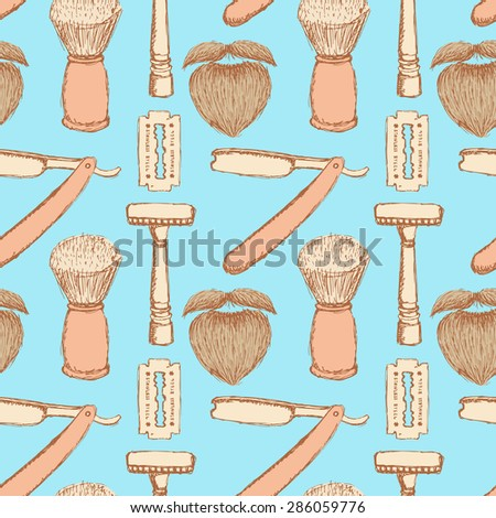 Sketch barber shop in vintage style, vector seamless pattern