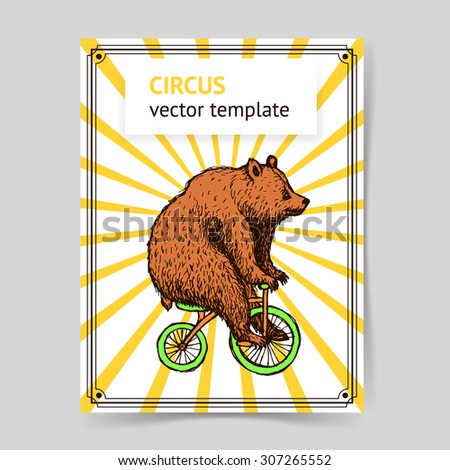 Sketch bear on a bike in vintage style, vector - stock vector