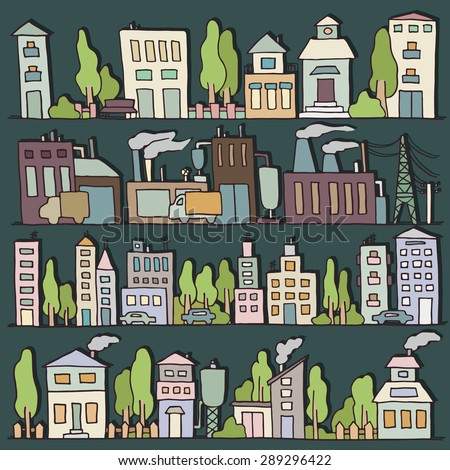 Sketch big city architecture with houses, factory, trees, cars. Night  panorama set of streets in a row. Hand-drawn vector illustration isolated on dark and organized in groups for easy editing. - stock vector