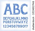 "Sketch ""blueprint"" style alphabet with numbers and marks, based on my original hand-drawn font. EPS-8 - stock photo"