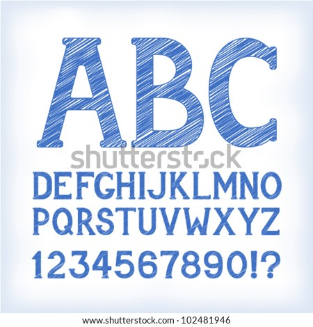 "Sketch ""blueprint"" style alphabet with numbers and marks, based on my original hand-drawn font. EPS-8 - stock vector"