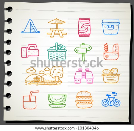 Sketch book Series | travel,picnic ,camping icon set - stock vector