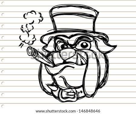 sketch bulldog head on paper - stock vector