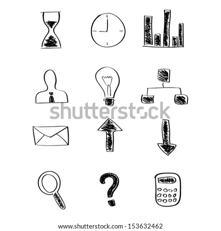 Sketch business icons. Vector illustration - stock vector