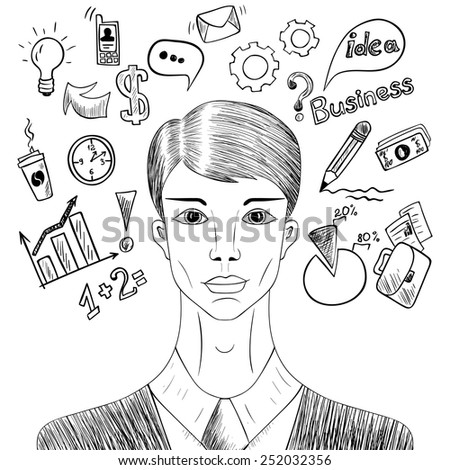 Sketch businessman with elements of working process doodle style. Hand drawn vector illustration. - stock vector