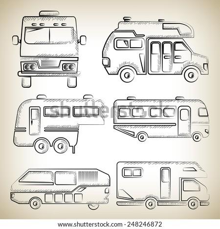 sketch camper van, camping truck - stock vector