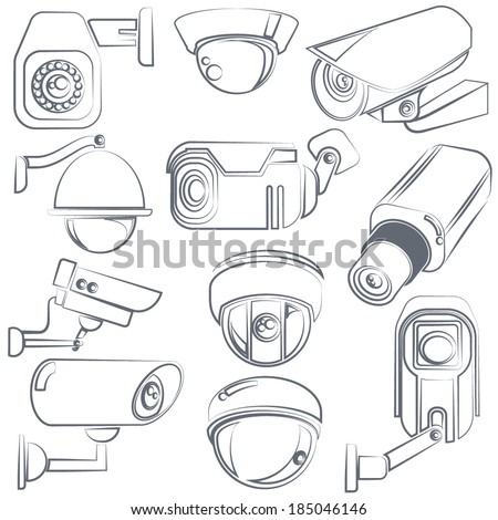 sketch CCTV, video surveillance icons set - stock vector