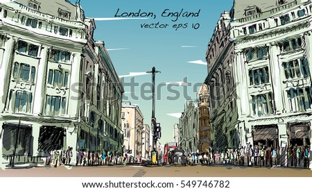 sketch cityscape of London, England, show peoples walk street and shopping center, illustration vector