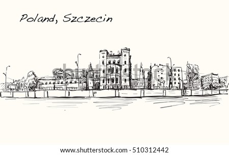 Sketch Cityscape of Poland, Szczecin city ,free hand draw illustration vector
