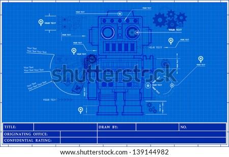 Sketch classic robot blueprint of mechanic on a blueprint paper, background. illustrator vector - stock vector
