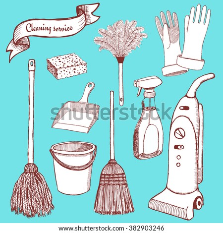 Sketch cleaning set in vintage style, vector - stock vector