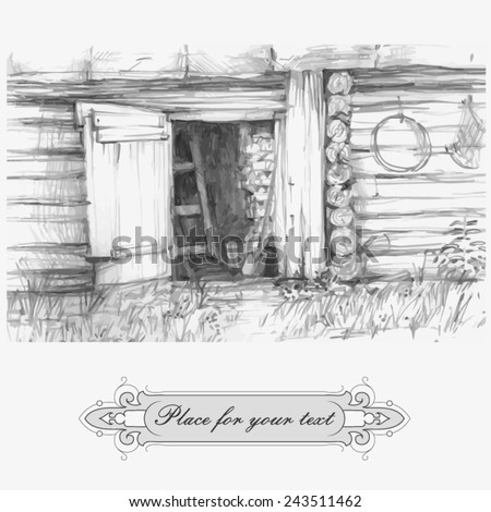 Sketch. Country house vector - stock vector