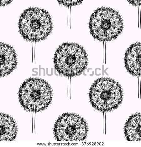 Sketch dandelion pattern in vintage style, vector - stock vector