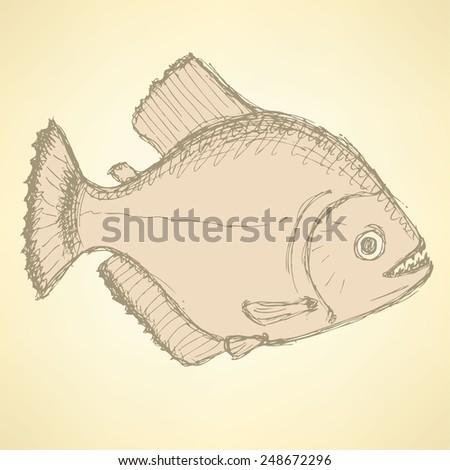 Sketch dangerous piranha in vintage style, vector - stock vector