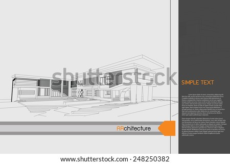 sketch design of public building on drawing table,vector - stock vector