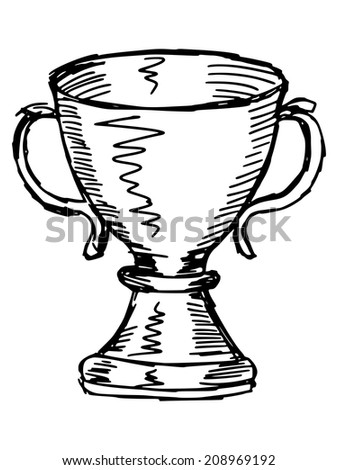sketch, doodle, hand drawn illustration of trophy cup - stock vector