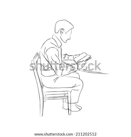 sketch doodle man sitting table on stock vector royalty free 211202512 shutterstock. Black Bedroom Furniture Sets. Home Design Ideas