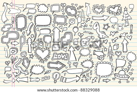 Sketch Doodle Vector Set Illustration - stock vector