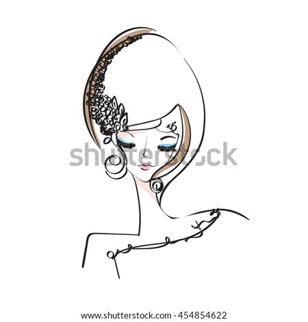 sketch drawing. woman, face, beauty makeup girl, illustration, original sketch vector file - stock vector