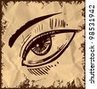 Sketch eye isolated on vintage background. Childish doodle style vector illustration - stock vector