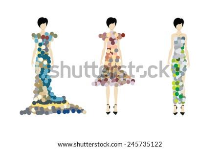 SKETCH. fashion girl. Hand-drawn fashion model. Vector illustration. - stock vector