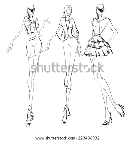 SKETCH. fashion girls - stock vector