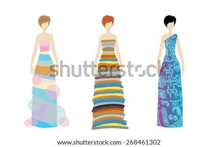 SKETCH. Fashion girls. Hand-drawn fashion model. Vector illustration. - stock vector