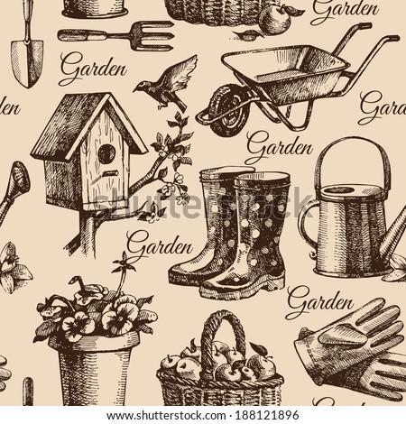 Sketch gardening seamless pattern. Hand drawn illustration  - stock vector