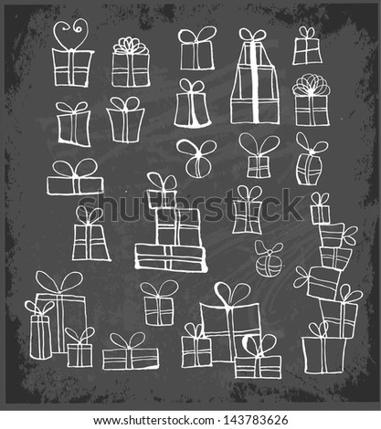 Sketch gift boxes collection on blackboard.. Vector illustration. - stock vector