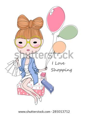 Sketch girl and balloon - stock vector