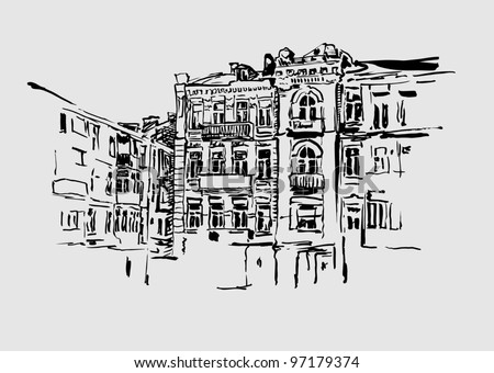sketch hand drawing artistic picture of Kiev historical building. My own artwork. - stock vector