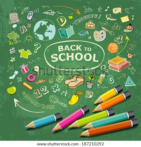 Sketch hand drawn education icons and colorful pencils idea on green background, vector illustration - stock vector
