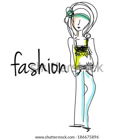 sketch hand drawn woman cartoon fashion girl illustration, vector file - stock vector