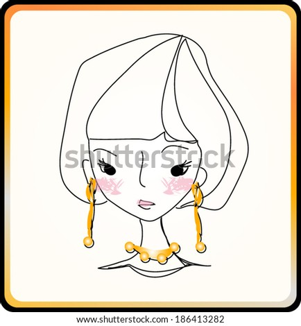 sketch hand drawn woman face, cartoon fashion girl illustration, makeup girl with jewelry - stock vector