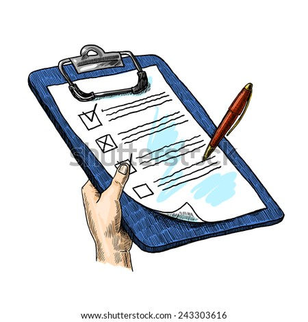 Sketch hand with clipboard checklist and pen isolated on white background vector illustration - stock vector