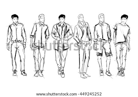 Sketch. Handsome stylish man showcasing street fashion - stock vector