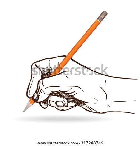 Sketch human hand holding graphite pencil for writing vector illustration - stock vector